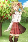 1girl :d ^_^ apple apple_hair_ornament apple_tree arm_at_side bangs blue_sky blush breasts brown_legwear character_request closed_eyes closed_eyes clouds collared_shirt day dress_shirt eyebrows_visible_through_hair facing_viewer fingernails flower food food_themed_hair_ornament fruit hair_between_eyes hair_ornament hair_ribbon hairclip hand_up inishie_no_megami_to_houseki_no_ite kurata_rine light_brown_hair long_hair long_sleeves official_art open_mouth outdoors plaid plaid_skirt pleated_skirt red_apple red_skirt ribbon shirt skirt sky sleeves_past_wrists small_breasts smile solo standing thigh-highs tree twintails white_flower white_ribbon white_shirt