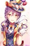 alternate_hairstyle balloon bang_dream! bangs blush braid brooch crossed_bangs earrings eyebrows_visible_through_hair gloves hair_between_eyes hat hat_ribbon highres index_finger_raised jewelry long_hair looking_at_viewer multicolored multicolored_clothes open_mouth ponytail purple_hair red_eyes ribbon seta_kaoru short_sleeves smile sparkle striped striped_ribbon taya_5323203 top_hat twitter_username upper_body v-shaped_eyebrows vest white_gloves