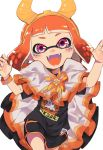 1girl arms_up bangs bike_shorts black_shirt black_shorts blush claw_pose costume domino_mask facing_viewer fangs halloween hands highres horns inkling kinagi_(3307377) looking_at_viewer mask nintendo open_mouth orange_eyes orange_hair shirt shorts simple_background smile solo splatoon tentacle_hair white_background wristband