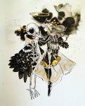 1girl bird_skull black_footwear bone feathers floating full_body grey_hair halo highres hip_bones inktober long_hair maruti_bitamin original photo ribs skeleton solo standing traditional_media wings