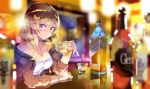 1girl alcohol bangs bar bare_shoulders blonde_hair blurry blurry_background blurry_foreground blush bottle breasts brown_jacket cleavage closed_mouth collarbone commentary_request cup depth_of_field dress drink eyebrows_visible_through_hair hand_up haruse_hiroki holding holding_cup ice ice_cube indoors jacket long_hair long_sleeves medium_breasts off_shoulder open_clothes open_jacket original reflection sitting smile solo strapless strapless_dress transparent violet_eyes watch watch white_dress
