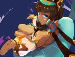 1girl armlet bangs blue_eyes blunt_bangs breasts brown_hair commentary_request dark_skin detached_sleeves dragalia_lost egyptian egyptian_clothes eyebrows_visible_through_hair from_above gorget hair_tubes headgear hima_hijiki legs_together looking_at_viewer looking_back lying nefaria on_back pillow pose see-through see-through_sleeves small_breasts solo