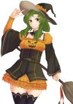 1girl alternate_costume belt broom brown_eyes elincia_ridell_crimea fire_emblem fire_emblem:_akatsuki_no_megami fire_emblem:_souen_no_kiseki fire_emblem_heroes green_hair halloween_costume hat_tip highres long_hair nintendo pumpkin_costume skirt smile solo thigh-highs tridisart
