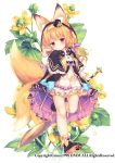 1girl animal_ears bare_legs blonde_hair capelet character_request dmm dress expressionless flower_knight_girl flower_request fox_ears fox_tail frilled_capelet frilled_dress frills full_body hairband hat long_sleeves mini_hat mini_top_hat morinaga_kobato multiple_tails official_art paw_shoes red_eyes shoes sword tail top_hat two_tails vest weapon