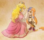 2girls blonde_hair crown domino_mask dress earrings elbow_gloves full_body gloves ink inkling jewelry long_hair mario_(series) mask multiple_girls nintendo one_eye_closed open_mouth orange_eyes orange_hair pink_dress pointy_ears princess_peach sayoyonsayoyo shirt shoes shorts smile sneakers splatoon squatting standing super_smash_bros. t-shirt twitter_username water_gun white_gloves wiping_face