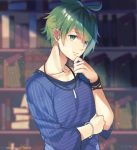 1boy amami_rantarou blue_shirt blurry blurry_background bookshelf bracelet collarbone danganronpa dust_particles green_eyes green_hair hair_between_eyes jewelry looking_at_viewer male_focus necklace new_danganronpa_v3 shiny shiny_hair shirt short_hair solo striped striped_shirt upper_body yuraiko