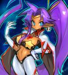 1girl blue_eyes breasts cape cleavage cosplay covered_nipples dakusuta dark_skin earrings gloves hand_on_hip highres jewelry large_breasts long_hair midriff navel pointy_ears ponytail purple_hair shantae_(character) shantae_(series) skull_earrings smile solo tengen_toppa_gurren_lagann very_long_hair white_gloves yoko_littner yoko_littner_(cosplay)