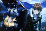 1boy 1girl absurdres ahoge armor armored_dress artoria_pendragon_(all) black_coat black_pants blonde_hair blue_dress blue_eyes blue_ribbon breastplate brown_hair clenched_teeth copyright_name dress emiya_shirou eyebrows_visible_through_hair fate/stay_night fate_(series) floating_hair fur_trim green_eyes hair_between_eyes hair_ribbon highres looking_at_viewer pants parted_lips ribbon saber shirt short_hair sotome_taiga spiky_hair teeth white_shirt