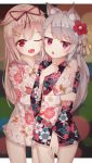2girls :o ;d absurdres alternate_costume animal_ears azur_lane blonde_hair commentary crossover dog_ears fang flower grey_hair hair_flaps hair_flower hair_ornament hair_ribbon hairclip highres hug hug_from_behind japanese_clothes kantai_collection kimono long_hair looking_at_viewer multiple_girls one_eye_closed open_mouth pcbl red_eyes remodel_(kantai_collection) ribbon smile yukata yuudachi_(azur_lane) yuudachi_(kantai_collection)