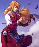 1girl absurdres animal bird blonde_hair blue_eyes blue_sky bracelet braid dress feathers highres instrument jewelry looking_at_viewer lyre music nayuun nintendo playing_instrument pointy_ears princess_zelda sky smile solo the_legend_of_zelda the_legend_of_zelda:_skyward_sword