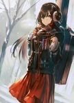 1girl artist_name bangs black_hair building cable commentary_request cowboy_shot day dutch_angle enpera garuku headphones instrument_case jacket long_hair long_sleeves looking_at_viewer mole mole_under_eye original outdoors red_eyes red_skirt scarf signature skirt smile snow snowing solo standing tree winter winter_clothes