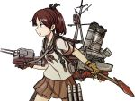 1girl anchor axe brown_hair brown_neckwear brown_sailor_collar brown_skirt cannon commentary_request depth_charge depth_charge_projector gloves hachidori_(ippatsuya) hair_ribbon kantai_collection machinery ponytail propeller ribbon sailor_collar school_uniform searchlight serafuku shikinami_(kantai_collection) short_ponytail simple_background skirt smokestack solo torpedo_launcher turret white_background yellow_gloves