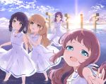 4girls :d absurdres bangs bare_shoulders blue_eyes blue_sky blush bow breasts brown_eyes brown_hair closed_mouth clouds cloudy_sky commentary_request day dress eyebrows_visible_through_hair fingernails hair_bow hair_ornament head_tilt highres hiradaira_chisaki hisanuma_sayu horizon kiri_sakura light_brown_hair long_hair looking_at_viewer mukaido_manaka multiple_girls nagi_no_asukara ocean one_side_up open_mouth outdoors purple_hair red_bow sailor_collar sailor_dress shallow_water shiodome_miuna sky sleeveless sleeveless_dress small_breasts smile standing sunrise very_long_hair wading water white_dress white_sailor_collar