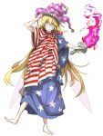 1girl adjusting_clothes adjusting_hat american_flag barefoot bell blonde_hair clownpiece crazy_eyes crazy_smile fairy_wings fire hat jester_cap kan_(aaaaari35) pink_eyes purple_fire sharp_teeth statue_of_liberty teeth torch touhou white_background wings