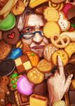 1girl blue-framed_eyewear blue_eyes commentary_request cookie cookie_clicker face food glasses grandma_(cookie_clicker) hands heart looking_at_viewer old_woman parted_lips sassa_(cb) solo white_hair wrinkled_skin