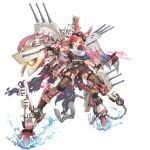 aircraft aircraft_catapult airplane anchor banner boots cannon cape chains elbow_sleeve goggles goggles_on_head head_wings holding holding_chain holding_weapon knee_pads mecha_musume north_carolina_(zhan_jian_shao_nyu) pantyhose radar_dish range_finder red_eyes redhead tagme tomahawk torn_cape torn_clothes torn_pantyhose turret weapon white_hair zhan_jian_shao_nyu