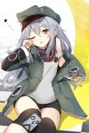 1girl bangs bare_shoulders black_shorts checkered commentary drooling eyebrows_visible_through_hair flat_cap g11_(girls_frontline) girls_frontline green_hat green_jacket grey_eyes grey_hair grey_tank_top hair_between_eyes hand_up hat head_tilt highres jacket kutata long_hair long_sleeves looking_at_viewer off_shoulder one_eye_closed open_clothes open_jacket parted_lips short_shorts shorts solo star tank_top very_long_hair