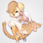 +_+ 1girl blonde_hair boots eyebrows_visible_through_hair fang full_body giant_pangolin_(kemono_friends) grey_background hat highres kemono_friends knee_boots looking_at_viewer open_mouth orange_hair pangolin_ears pangolin_tail pink_shorts scales shirt short_sleeves shorts simple_background solo teranekosu white_shirt yellow_footwear yellow_neckwear