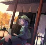 1girl autumn backpack bag blue_dress blue_eyes blue_footwear blue_hair blurry blurry_background boots breasts cabbie_hat colored_eyelashes commentary_request computer curtains dango dress dutch_angle feet_out_of_frame flower food food_in_mouth forest futatsuki_eru green_hat hat kawashiro_nitori key lantern laptop long_hair medium_breasts mouth_hold nature pot purple_flower sanshoku_dango short_hair sitting solo touhou two_side_up wagashi