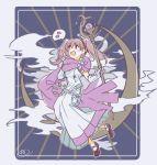 1girl card_(medium) cloak clouds crescent_moon dress fire_emblem fire_emblem:_rekka_no_ken gloves holding moon murabito_ba nintendo pink_eyes pink_hair serra smile solo staff twintails