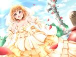 1girl ahoge bangs bare_shoulders blue_sky blush bracelet breasts bridal_veil cleavage clouds cross dress flower gloves hair_flower hair_ornament highres jewelry kamesys light_rays looking_at_viewer love_live! love_live!_sunshine!! medium_breasts necklace open_mouth orange_dress orange_gloves orange_hair outstretched_arms petals red_carpet red_eyes rose_petals short_hair sky smile solo sunlight takami_chika tears veil wedding wedding_dress