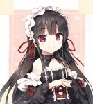 1girl bangs bare_shoulders black_bow black_dress black_hair blush bow breasts closed_mouth collarbone cross-laced_clothes cura detached_sleeves dress eyebrows_visible_through_hair frilled_dress frills gothic_lolita hachiroku_(maitetsu) hands_up heart highres lace lace-trimmed_dress lolita_fashion long_hair long_sleeves looking_at_viewer maitetsu own_hands_together red_bow red_eyes red_ribbon ribbon sleeveless sleeveless_dress small_breasts smile solo striped striped_bow upper_body wide_sleeves