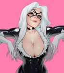 1girl artist_name black_cat_(marvel) blue_eyes bodysuit breasts choker cleavage collarbone domino_mask fangs felicia_hardy freckles fur_trim gloves hair_intakes highres hips large_breasts lera_pi lips long_hair looking_at_viewer marvel mask parted_lips pink_background signature simple_background smile solo spider-man_(series) white_gloves white_hair