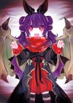 1girl animal_ears bat_ears dragon_wings dress fake_animal_ears fire_emblem fire_emblem:_seima_no_kouseki fire_emblem_heroes fur_trim halloween_costume highres ku_zensen long_sleeves mamkute multi-tied_hair myrrh nintendo open_mouth purple_hair red_eyes solo standing twintails wings