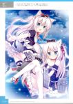 2girls 3: american_flag animal_ears ass azur_lane bare_shoulders black_legwear blue_sky bow cat_ears cat_hair_ornament choker clouds cloudy_sky detached_sleeves dress dual_persona frills grey_eyes hair_bow hair_ornament hair_ribbon hammann_(azur_lane) high_heels highres korie_riko looking_at_viewer machinery maid multiple_girls ocean off-shoulder_dress off_shoulder official_art pointing remodel_(azur_lane) ribbon silver_hair sky thigh-highs turret white_legwear
