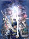 1girl dissidia_final_fantasy final_fantasy final_fantasy_i highres long_hair mucca multiple_boys short_hair warrior_of_light