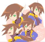 1girl aile bangs blush brown_hair closed_mouth expressions eyebrows_visible_through_hair face green_eyes hair_between_eyes long_hair looking_up multiple_views one_eye_closed open_mouth ponytail robot_ears rockman rockman_zx rockman_zx_advent serious smile