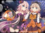 2girls :d :p animal_ears animal_hood bare_shoulders black_cape black_choker black_dress black_gloves black_legwear blonde_hair blurry blush bow braid brown_shorts candy candy_wrapper cape cevio choker claw_pose collarbone collared_shirt commentary_request cross-laced_clothes crossover demon_tail dress elbow_gloves fang food ghost gloves hair_bow hair_flaps halloween halloween_basket hands_up hood hood_up hooded_cape ia_(vocaloid) lollipop long_hair long_sleeves multiple_girls nail_polish night night_sky one_(cevio) open_mouth orange_vest pink_hair pumpkin purple_bow purple_nails shikino_(sikinonono) shirt short_shorts shorts side_braids silk sky sleeveless sleeveless_dress smile spider_web star_(sky) starry_sky striped swirl_lollipop tail thigh-highs tongue tongue_out twin_braids vertical-striped_vest vertical_stripes very_long_hair vocaloid white_shirt
