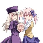 2girls :p blush fate/stay_night fate_(series) genderswap genderswap_(mtf) hand_holding illyasviel_von_einzbern interlocked_fingers long_hair long_sleeves looking_at_viewer multiple_girls pink_hair red_eyes rimibure shirouko smile tongue tongue_out white_hair