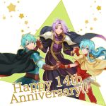 1girl 2900cm 2boys armor blue_eyes blue_hair boots cape eirika ephraim fire_emblem fire_emblem:_seima_no_kouseki green_hair long_hair looking_at_viewer lyon_(fire_emblem) multiple_boys nintendo purple_cape purple_hair robe short_hair smile violet_eyes