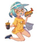 1girl aqua_hair bangs bare_legs blunt_bangs blush breasts character_request commentary domino_mask eating food_request highres holding inkling looking_at_viewer mask nintendo oversized_clothes oversized_shirt shirt short_eyebrows short_hair short_sleeves shorts_tan sitting small_breasts solo splatoon symbol_commentary tan tanline tentacle_hair thick_eyebrows wariza yellow_eyes yellow_shirt yu-ri