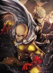2boys bald belt black_sclera blonde_hair bodysuit bulge cape curly_hair cyborg david_liu genos gloves grin highres male_focus manly multiple_boys one-punch_man red_gloves saitama_(one-punch_man) serious short_hair smile superhero yellow_bodysuit yellow_eyes