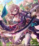 4girls armor artist_name bangs blonde_hair blue_eyes breasts cherry_blossoms copyright_name hair_ornament holding holding_sword holding_weapon japanese_armor japanese_clothes katana kimono large_breasts leaning_forward leg_up long_hair multiple_girls n_kamui obi official_art original ponytail samurai sash sengoku_saga shoulder_armor smile sode solo_focus sword weapon white_legwear