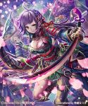 4girls armor artist_name bangs black_gloves blunt_bangs breasts cherry_blossoms copyright_name fingerless_gloves fringe gloves green_eyes hair_ornament holding holding_sword holding_weapon japanese_armor japanese_clothes katana kimono large_breasts leaning_forward leg_up long_hair multiple_girls n_kamui obi official_art original ponytail purple_hair samurai sash sengoku_saga shoulder_armor sky smile sode solo_focus sword weapon