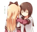 2girls blonde_hair brown_hair closed_eyes funami_yui hands_on_another's_shoulders highres long_hair multiple_girls namori nanamori_school_uniform short_hair simple_background toshinou_kyouko translation_request white_background yuru_yuri