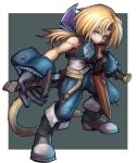 1boy absurdres bangs bare_arms black_footwear blonde_hair blue_eyes blue_pants blunt_bangs boots dakusuta dual_wielding final_fantasy final_fantasy_ix full_body gloves highres holding long_hair male_focus monkey_tail pants ponytail simple_background tail weapon zidane_tribal