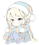 1girl :o bangs beanie blonde_hair blue_coat blue_eyes blue_hat blue_mittens blush character_request commentary_request eyebrows_visible_through_hair fur-trimmed_hat fur_trim granblue_fantasy hair_between_eyes hands_up hat head_tilt long_hair looking_at_viewer meito_(maze) mittens parted_lips pointy_ears scarf simple_background solo striped striped_scarf upper_body white_background