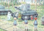 1boy 4girls aki_(girls_und_panzer) ankle_boots bangs blue_footwear blue_hat blue_jacket blue_pants blue_shirt blue_skirt blue_sky boots brown_hair carrying clouds cloudy_sky commentary_request day emblem forest girls_und_panzer grass grey_legwear grey_skirt guitar hair_tie hat holding holding_instrument instrument jacket kantele keizoku_military_uniform keizoku_school_uniform light_brown_hair little_my loafers long_hair long_sleeves looking_at_another mika_(girls_und_panzer) mikko_(girls_und_panzer) military military_uniform miniskirt moomintroll multiple_girls namesake nature omachi_(slabco) outdoors pants pants_rolled_up pants_under_skirt partial_commentary pleated_skirt raglan_sleeves redhead school_uniform shirt shoes short_hair short_twintails skirt sky snufkin socks standing striped striped_shirt swastika track_jacket track_pants tree twintails uniform vehicle_request vertical-striped_shirt vertical_stripes