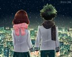 1boy 1girl absurdres artist_name blazer boku_no_hero_academia brown_hair building chalalachan commentary english_commentary from_behind green_hair green_pants green_skirt highres jacket messy_hair midoriya_izuku night night_sky pants pink_scarf pinky_swear plaid plaid_scarf pleated_skirt scarf school_uniform short_hair skirt sky skyline skyscraper snow uraraka_ochako