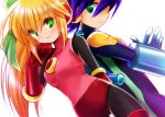 1boy 1girl back-to-back bangs blonde_hair blue_gloves blue_hair bodysuit breasts capcom dutch_angle elbow_gloves gloves green_eyes hair_between_eyes hair_ribbon hand_in_hair long_hair red_gloves ribbon rockman rockman_exe rockman_exe_(character) roll_exe simple_background smile white_background yurikagodenno