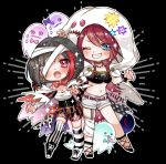 2girls :o @_@ bandage bandaged_arm bandaged_head bandaged_leg bandages bang_dream! bangs belt black_background black_choker black_hair blue_eyes blush boots bow bowtie breasts chains chino_machiko choker cleavage corset crop_top cross-laced_footwear earrings fangs full_body garter_straps ghost ghost_costume ghost_pose grin jewelry kneehighs long_hair looking_at_viewer mismatched_legwear mitake_ran multicolored_hair multiple_girls one_eye_closed outline red_neckwear redhead sarashi short_hair short_shorts shorts single_kneehigh single_thighhigh smile stitched_mouth stitches streaked_hair striped striped_legwear studded_choker sweatdrop thigh-highs udagawa_tomoe v-shaped_eyebrows vertical-striped_legwear vertical-striped_shorts vertical_stripes violet_eyes wavy_mouth white_outline wristband