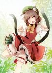 1girl animal_ears bow brown_hair cat_ears cat_tail chen fangs green_hat hat kuro_nasu leaf mob_cap open_mouth red_eyes smile solo tail touhou yellow_bow