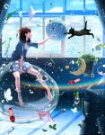 1girl absurdres black_eyes blue_skirt blue_sky brown_hair brown_legwear bubble cat closed_mouth crescent day highres huge_filesize indoors looking_away medium_hair nakamura_yukihiro original pantyhose plant potted_plant sitting skirt sky smile solo star window