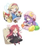 >:) 3girls :/ :d ;d ^_^ alice_margatroid bat_wings blonde_hair blue_dress blue_eyes blush book boots capelet chibi closed_eyes closed_eyes commentary_request crescent crescent_moon_pin cross-laced_footwear crystal dress dress_shirt eyebrows_visible_through_hair full_body hair_ribbon hairband hands_together happy hat head_wings heart holding holding_book jewelry koakuma lolita_hairband long_hair looking_at_viewer mob_cap multiple_girls one_eye_closed open_mouth patchouli_knowledge polearm purple_dress purple_hair reading red_legwear redhead ribbon ring satou_kibi shanghai_doll shield shirt shoes short_hair sidelocks skirt skirt_set smile spear striped striped_dress touhou tower tress_ribbon vertical_stripes very_long_hair vest violet_eyes weapon white_background white_shirt wings |_|