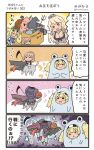 3girls 4koma :d blonde_hair blue_shirt breasts brown_hair comic commentary_request elbow_gloves front-tie_top gambier_bay_(kantai_collection) gloves hair_between_eyes halloween halloween_costume hat highres holding intrepid_(kantai_collection) iowa_(kantai_collection) jack-o'-lantern kantai_collection large_breasts long_hair megahiyo multiple_girls open_mouth ponytail shinkaisei-kan shirt short_hair short_sleeves smile speech_bubble star star-shaped_pupils symbol-shaped_pupils translation_request twintails twitter_username v-shaped_eyebrows witch_hat