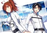 1boy 1girl :d ahoge akami_fumio arms_behind_back artist_name bangs belt belt_buckle black_hair blue_eyes blush breasts brown_eyes buckle chaldea_uniform closed_mouth clouds cloudy_sky commentary_request copyright_name eyebrows_visible_through_hair fate/grand_order fate_(series) fujimaru_ritsuka_(female) fujimaru_ritsuka_(male) hair_between_eyes hair_ornament hair_scrunchie highres long_sleeves looking_at_viewer looking_back medium_breasts one_side_up open_mouth outside_border own_hands_together parted_bangs redhead scrunchie short_hair sky smile upper_body